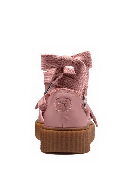 Bow Leather Creeper Sandals, Silver Pink