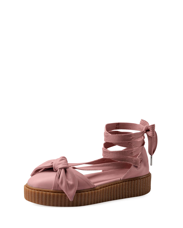 e2ca1a533d2 Fenty Puma by Rihanna Bow Leather Creeper Sandals
