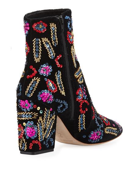 Isla Sequin-Embroidered Block-Heel Booties