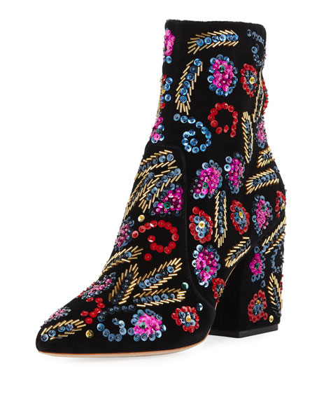 Loeffler Randall Isla Sequin-Embroidered Block-Heel Bootie