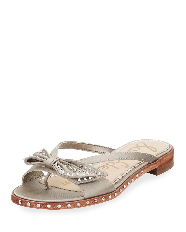 1933818b6 Sam Edelman Dariel Studded Satin Bow Flat Thong Sandal