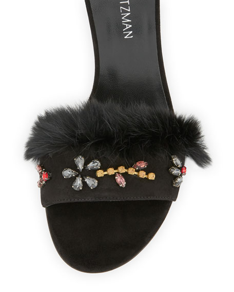 Jewelsandal Fur-Trim Suede Sandal