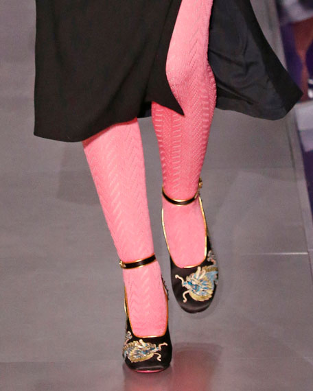 Caspar Embroidered Satin Ankle-Wrap Pump