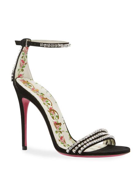 Gucci Ilse Crystal-Embellished Suede Sandal