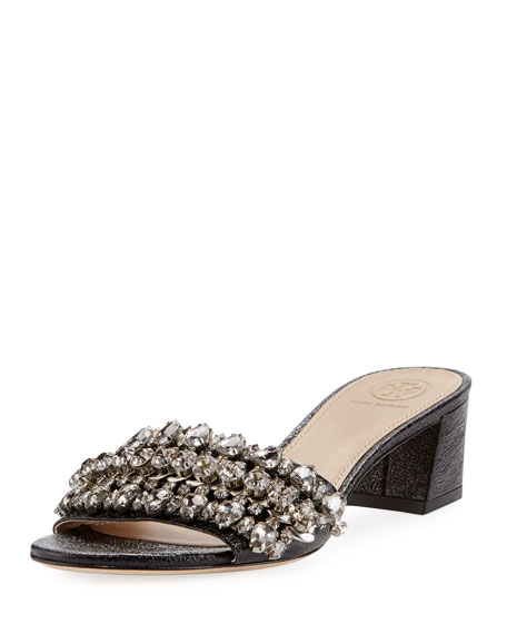 Tory Burch Beverly Embellished Crinkle-Leather Slide Sandal