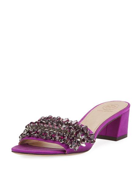 Tory Burch Beverly Embellished Satin Slide Sandal HM2xocMzqN