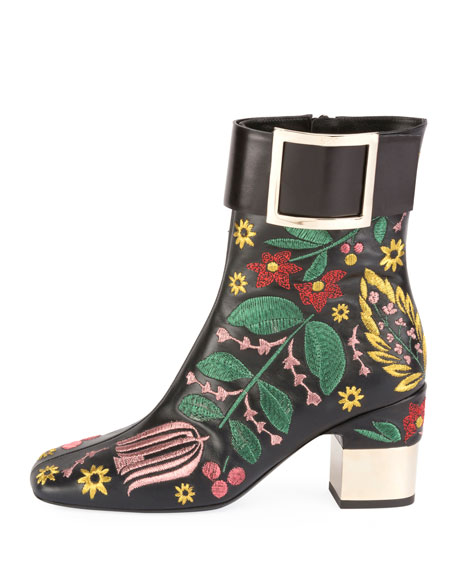 Podium Flower Embroidered Bootie
