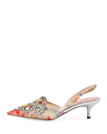 Image 3 of 5: Embellished Printed Fabric Slingback Pump