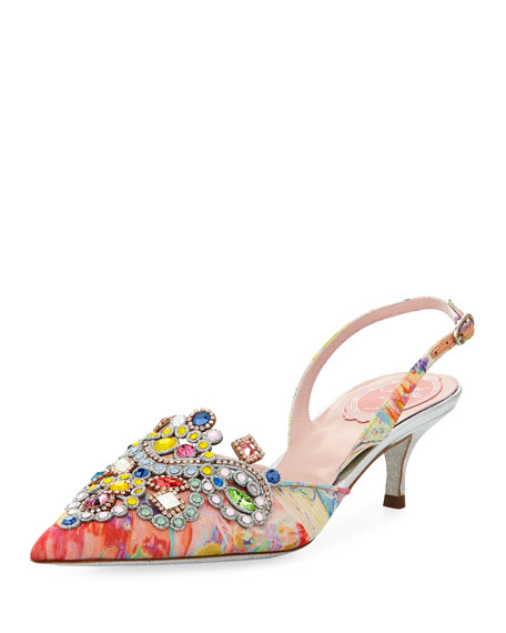 Image 1 of 5: Embellished Printed Fabric Slingback Pump