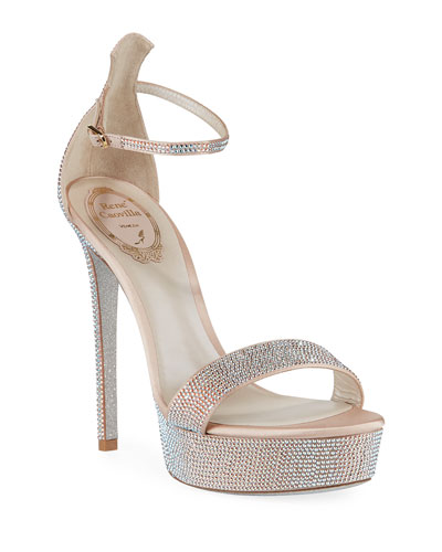 130mm Crystal-Studded Satin Platform Sandal