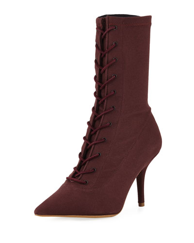 Tall Canvas Lace-Up Boot, Oxblood