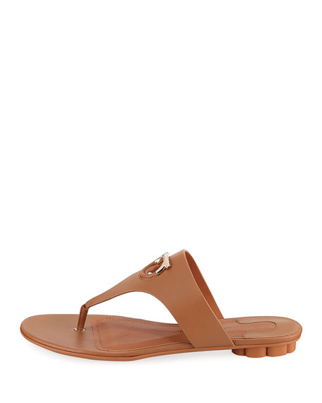 Enfola Flat Calfskin Thong Sandals, Sella Camel
