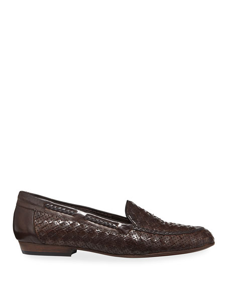 Image 2 of 3: Sesto Meucci Nellie Woven Perforated Loafer, Dark Brown