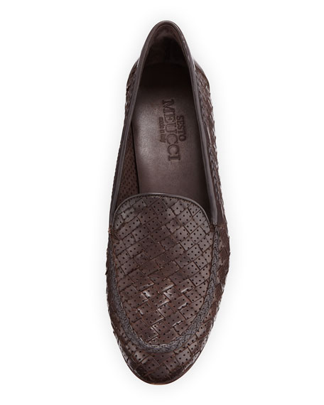 Image 3 of 3: Sesto Meucci Nellie Woven Perforated Loafer, Dark Brown