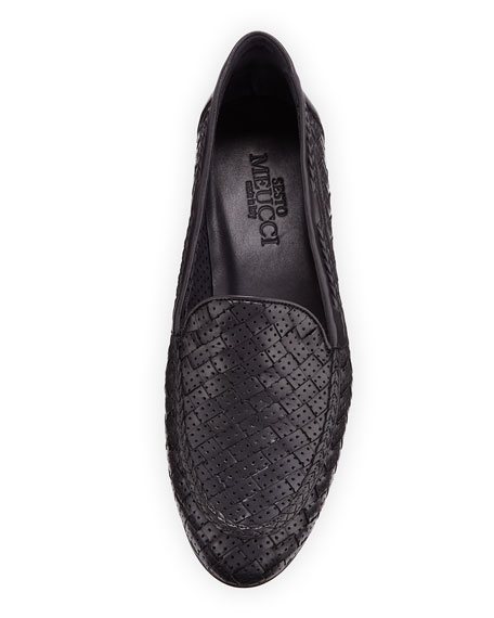 Image 3 of 3: Sesto Meucci Nellie Woven Perforated Leather Loafer