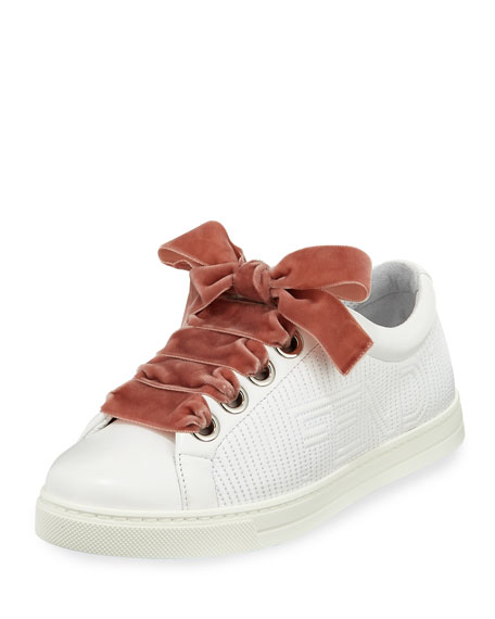 Stripy Embroidered Leather Sneaker, White