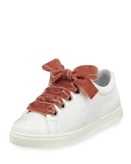 Fendi Stripy Embroidered Leather Sneaker, White
