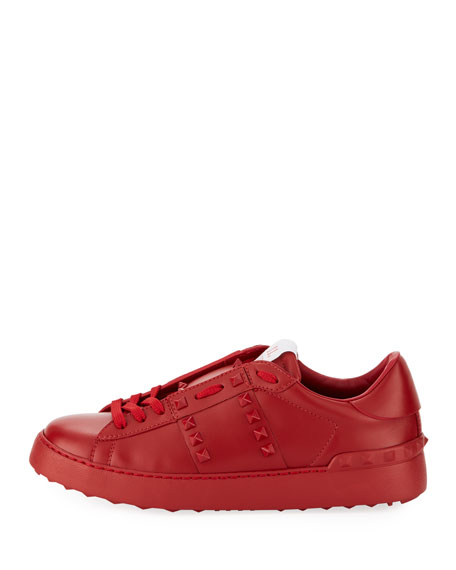 Rockstud Leather Platform Sneakers