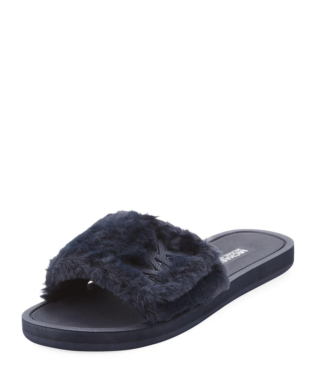 947b22a55b29 MICHAEL Michael Kors MK Faux-Fur Flat Slide Sandal