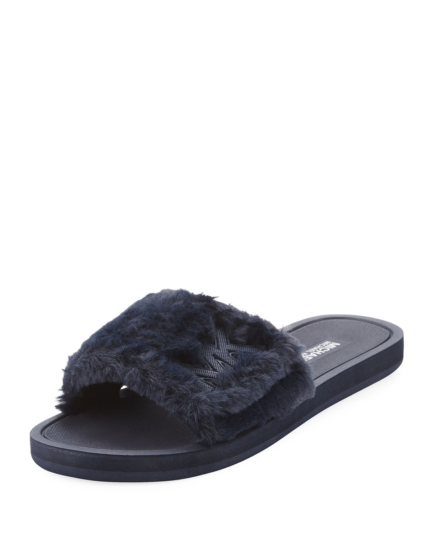 2f6b75ac7acb MICHAEL Michael Kors MK Faux-Fur Flat Slide Sandal