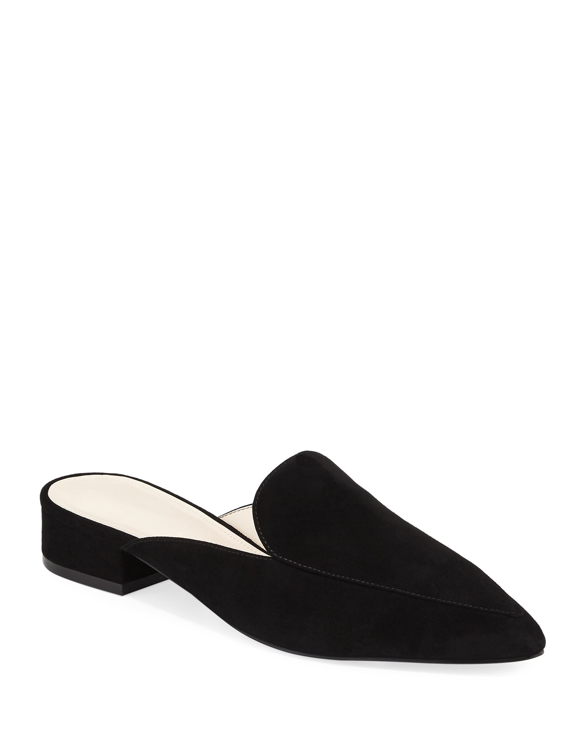 Cole Haan Piper Grand Suede Flat Loafer Mule Black Neiman Marcus Heart Leather