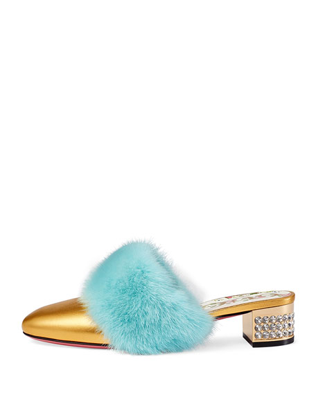 35mm Candy Metallic Leather Mule With Fur Trim
