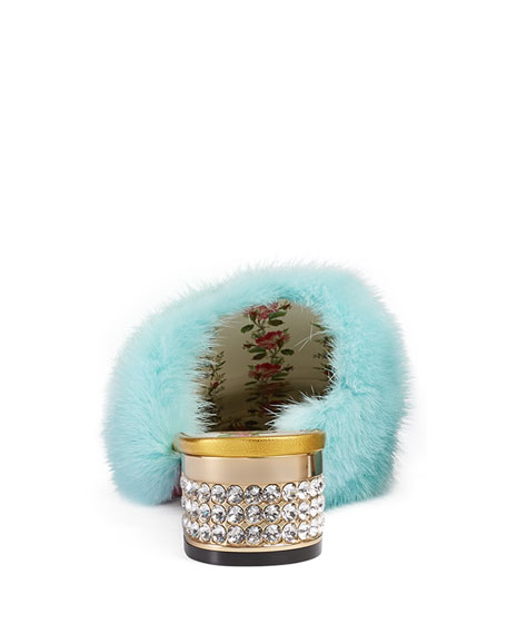 Metallic Leather Fur-Trim Mule