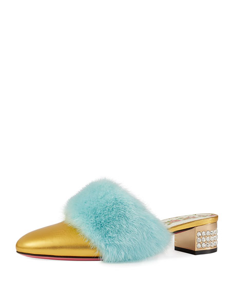 Gucci Candy Metallic Leather Fur-Trim Mule