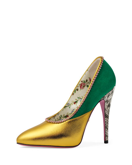 Women'S Peachy Embellished Leather & Suede Pumps, Gold/Emerald