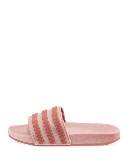 Women's Adilette Striped Velvet Slide Sandal, Raw Pink