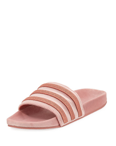 Adidas Women's Adilette Striped Velvet Slide Sandal, Raw