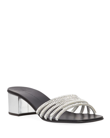 Women'S Embellished Leather Block-Heel Slide Sandals in Silver