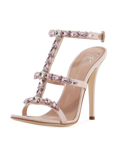 Crystal-Embellished T-Strap Sandal, Light Pink