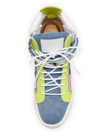 May High-Top Denim Colorblock Sneakers