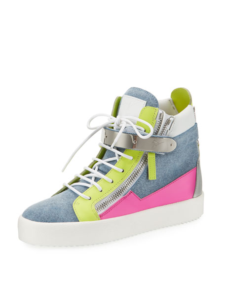 Giuseppe Zanotti May High-Top Denim Colorblock Sneakers