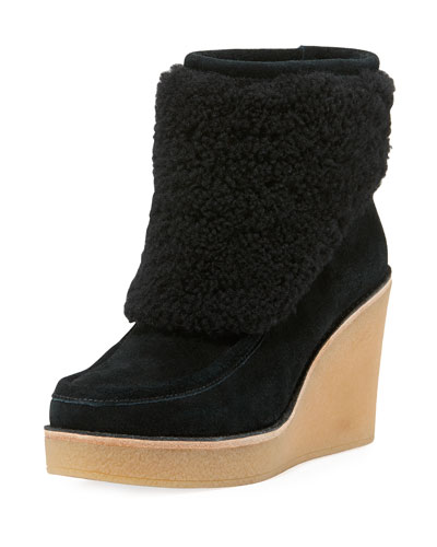 UGG Coldin Shearling Wedge Bootie, Black