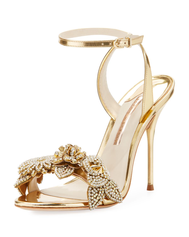 Sophia Webster Lilico Metallic Floral Ankle-Wrap Sandal TU9odlByh