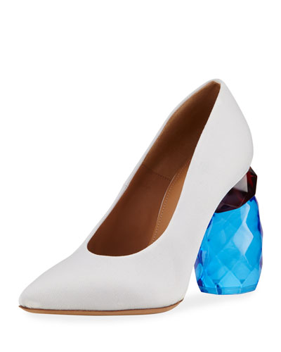 Resin-Heel Canvas Pump