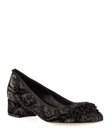 Sesto Meucci Flynn Ornament Suede Pump, Black