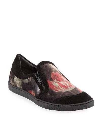 Frida Novel Floral-Print Velvet Sneakers