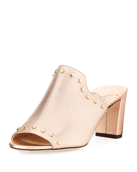 Myla Studded Metallic Leather Slide Sandal