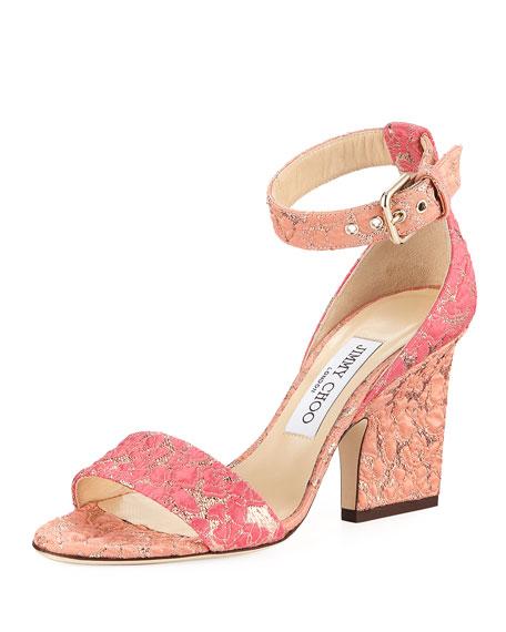Jimmy Choo Edina Floral Jacquard Ankle-Wrap Sandal