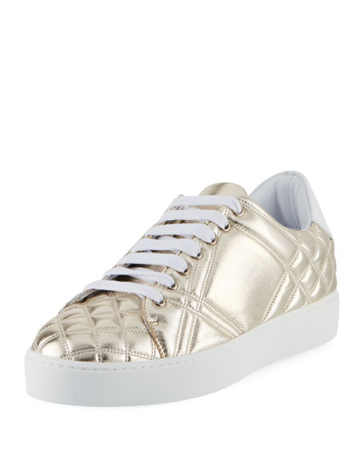 Burberry Westford Quilted Metallic Leather Low-Top Sneaker, Gold
