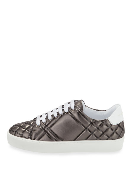 Westford Quilted Metallic Leather Low-Top Sneaker, Dark Gray