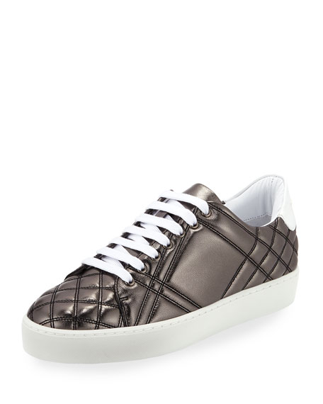 Westford Quilted Metallic Leather Low-Top Sneaker, Dark Gray