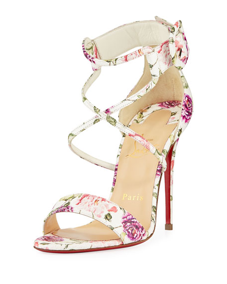 Christian Louboutin Choca Floral Snake Red Sole Sandal