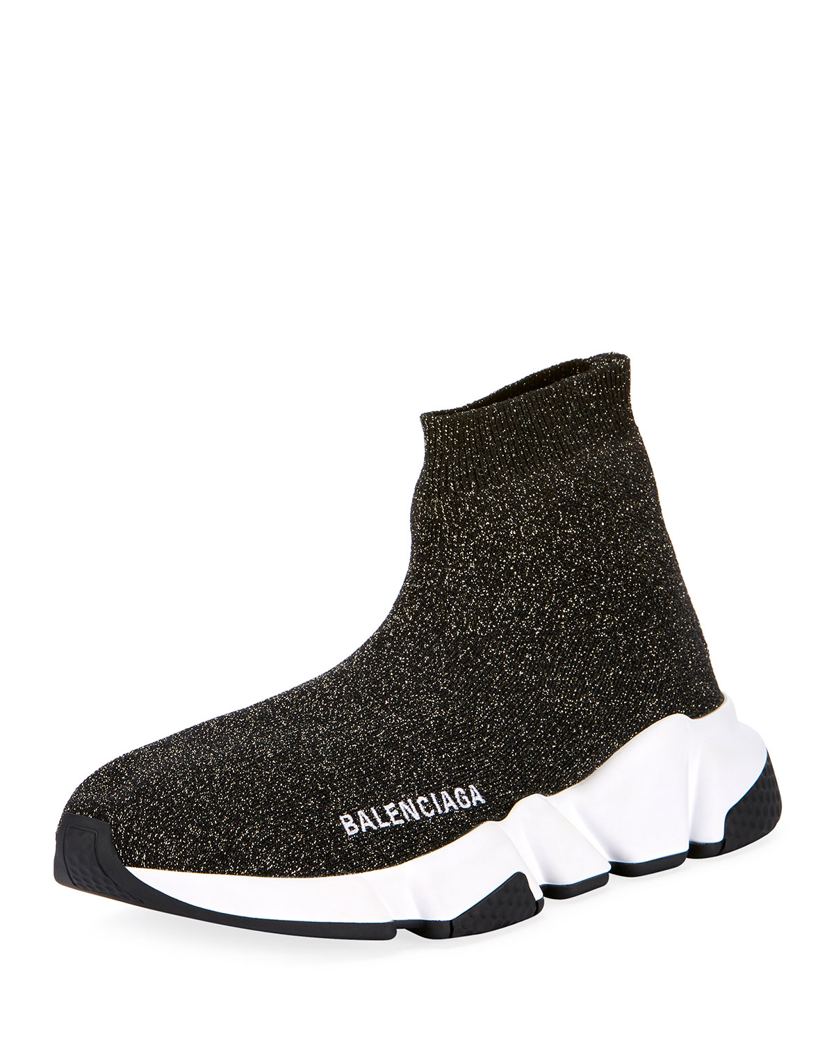 3330f8310b9 Balenciaga Metallic Knit High-Top Sock Sneakers | Neiman Marcus