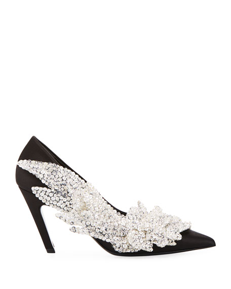 Embroidered Talon Slash Pumps
