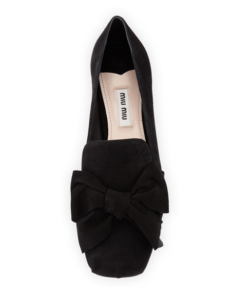 Suede Jeweled-Heel Loafer