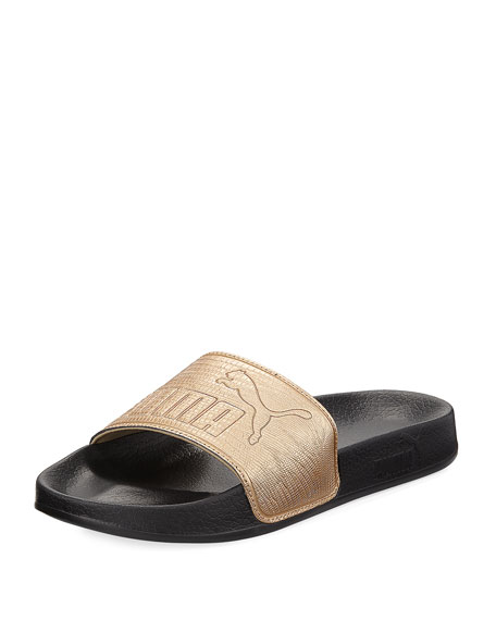 Puma Women S Leadcat Leather Slide Sandals From Finish Line In Gold  Black 87e8def6e